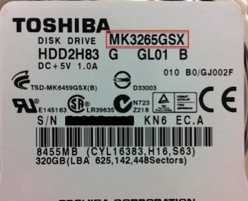 Toshiba Model Number